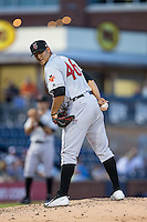 Indianapolis Indians starting pitcher Wilfredo Boscan (46) checks the runner at first during the game against the Durham Bulls at Durham Bulls Athletic Park on August 4, 2015 in Durham, North Carolina.  The Indians defeated the Bulls 5-1.  (Brian Westerholt/Four Seam Images)