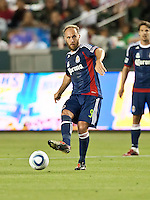 CARSON, CA – APRIL 30, 2011: Chivas USA midfielder Simon Elliott (9) during the match between Chivas USA and New England Revolution at the Home Depot Center, April 30, 2011 in Carson, California. Final score Chivas USA 3, New England Revolution 0.