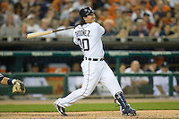 Magglio Ordonez #30 of the Detroit Tigers follows through on a 2-run home run in the 6th inning against the New York Yankees at Comerica Park April 27, 2009 in Detroit, Michigan.  Photo by Brian Westerholt / Four Seam Images
