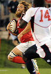 August 13, 2011:  Canada's Adam Kleeberger races downfield during the pre World Cup test match between Canada and USA's national teams at Infinity Park, Glendale, Colorado.  Canada defeated USA 27-7.     .. ...