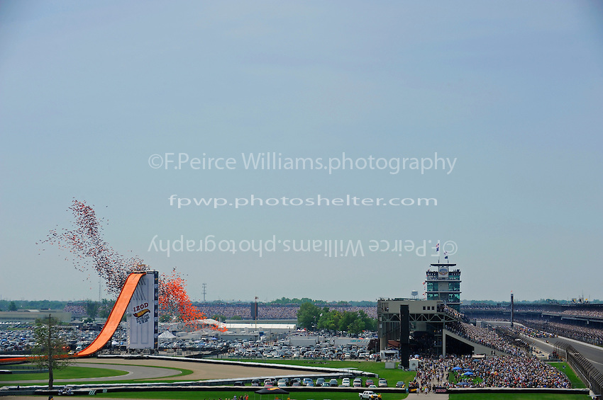 29 May, 2011, Indianapolis, Indiana, USA .Balloons launch over the speedway, Hot Wheels jump site, Pagoda and the grid as start time nears..©2011, F. Peirce Williams.
