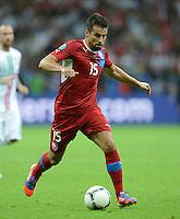 FUSSBALL  EUROPAMEISTERSCHAFT 2012   VIERTELFINALE Tschechien - Portugal              21.06.2012 Milan Baros (Tschechische Republik) Einzelaktion am Ball