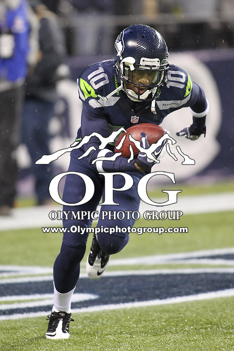 Dec 23, 2012:  Seattle Seahawk's Deon Butler against the San Francisco during Sunday nights game of the week at Century Link Stadium in Seattle WA.  Seattle defeated San Francisco 42-13.