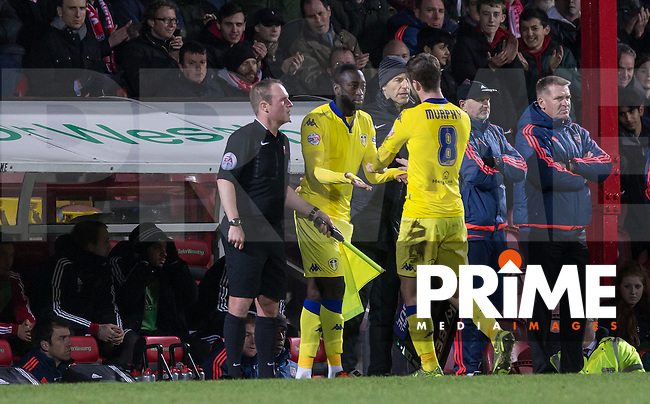 Toumani Diagouraga of Leeds United replaces Luke Murphy of Leeds United during the Sky Bet Championship match between Brentford and Leeds United at Griffin Park, London, England on 26 January 2016. Photo by Andy Rowland / PRiME Media Images.