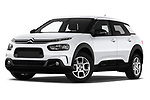 Stock pictures of low aggressive front three quarter view of a 2018 Citroen C4 Cactus Shine 5 Door SUV