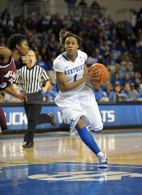 UK's A'dia Mathies cuts with the ball during the first half of the University of Kentucky Women's basketball game against Alabama A&M at Memorial Coliseum in Lexington, Ky., on 12/18/10. Uk led at half 42-20. Photo by Mike Weaver | Staff