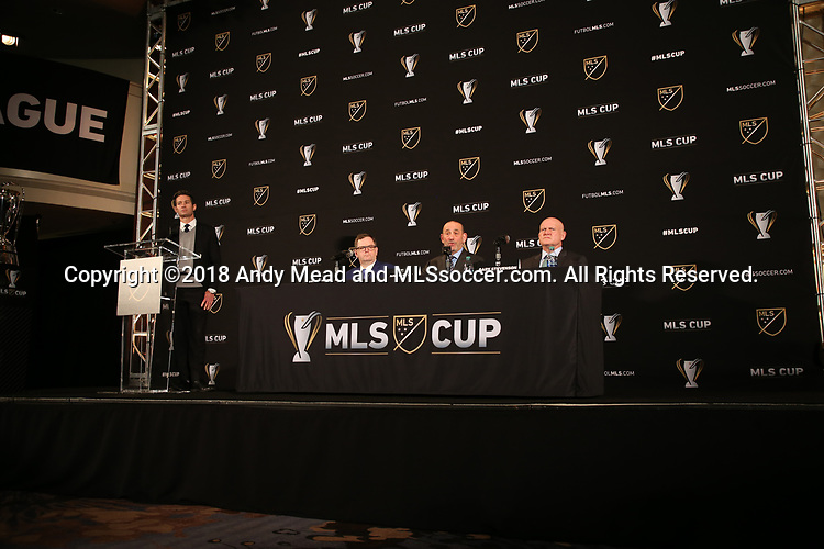 ATLANTA, GA - DECEMBER 07: MLS executives (from left): Dan Courtemanche, Mark Abbott, commissioner Don Garber, and Gary Stevenson. The MLS State of the League Address and Press Conference was held on December 7, 2018 at the Westin Peachtree Plaza, Atlanta Peachtree Ballroom in Atlanta, GA.