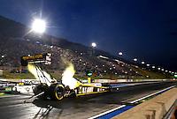 Jul. 18, 2014; Morrison, CO, USA; NHRA top fuel driver Tony Schumacher during qualifying for the Mile High Nationals at Bandimere Speedway. Mandatory Credit: Mark J. Rebilas-