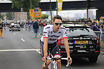 Michael Gogl (AUT) Trek-Segafredo at sign on in Dusseldorf before the start of Stage 2 of the 104th edition of the Tour de France 2017, running 203.5km from Dusseldorf, Germany to Liege, Belgium. 2nd July 2017.<br /> Picture: Eoin Clarke | Cyclefile<br /> <br /> <br /> All photos usage must carry mandatory copyright credit (&copy; Cyclefile | Eoin Clarke)