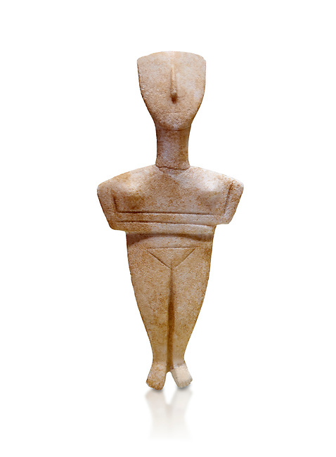 Cyclades spedos type stone statue figurine with folded arms, Archanes Phourni, 2300-1700 BC. Heraklion Archaeological Museum, white background.<br /> <br /> These voitive atatues were buried with the dead all over the Ctcladic Islands of Greece