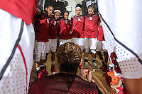 STANFORD, CA - January 3, 2015: Stanford Cardinal plays the Colorado Buffaloes at Maples Pavilion. The Cardinal defeated the Buffaloes 62-55. Erica Payne rallies the team pregame.