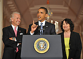 Washington, D.C. - May 26, 2009 -- United States President Barack Obama, center, names Judge Sonia Sotomayor of the Federal Appeals Court, right, as his nominee for Justice of the U.S. Supreme Court in the East Room of the White House on Tuesday, May 26, 2009.  She will replace retiring Justice David Souter. Judge Sotomayor, 54, of The Bronx, New York, will be the first Hispanic to serve if her nomination is approved by the U.S. Senate.  Vice President Joseph Biden looks on from left..Credit: Ron Sachs / Pool via CNP