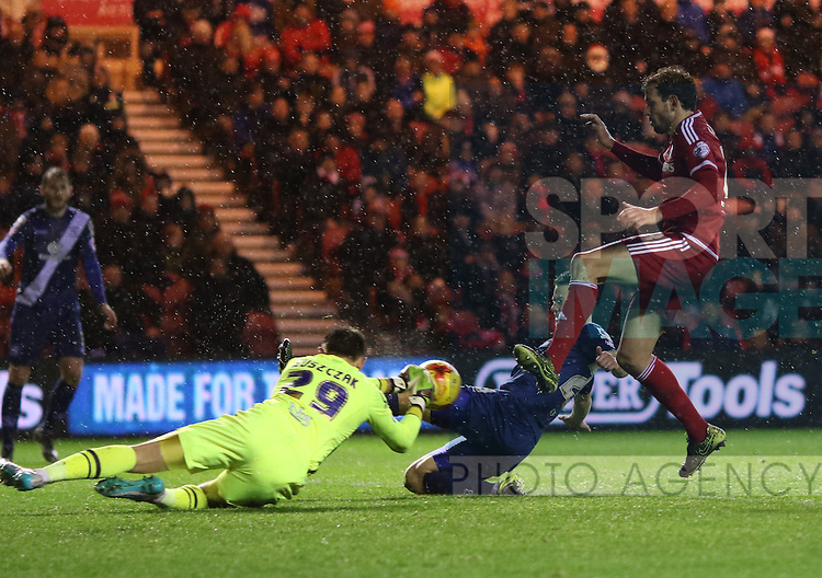 Tomasz Kuszczak of Birmingham City stopping Cristhian Stuani of Middlesbroughs shot on goal - Sky Bet Championship - Middlesbrough vs Birmingham City - Riverside Stadium - Middlesbrough - England - 12th of December 2015 - Picture Jamie Tyerman/Sportimage