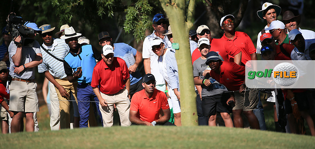 Charl Schwartzel (RSA) in joined by a hungry for action gallery as he plays his shot to the last from rough down the left-hand side during Round Three of the 2016 Tshwane Open, played at the Pretoria Country Club, Waterkloof, Pretoria, South Africa.  13/02/2016. Picture: Golffile | David Lloyd<br /> <br /> All photos usage must carry mandatory copyright credit (&copy; Golffile | David Lloyd)
