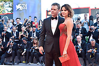 U.S. actor Matt Damon, left, and his wife Luciana Barroso pose on the red carpet of the movie 'Downsizing' and opening ceremony of the 74th Venice Film Festival, Venice Lido, August 30, 2017. <br /> UPDATE IMAGES PRESS/Marilla Sicilia<br /> <br /> *** ONLY FRANCE AND GERMANY SALES ***