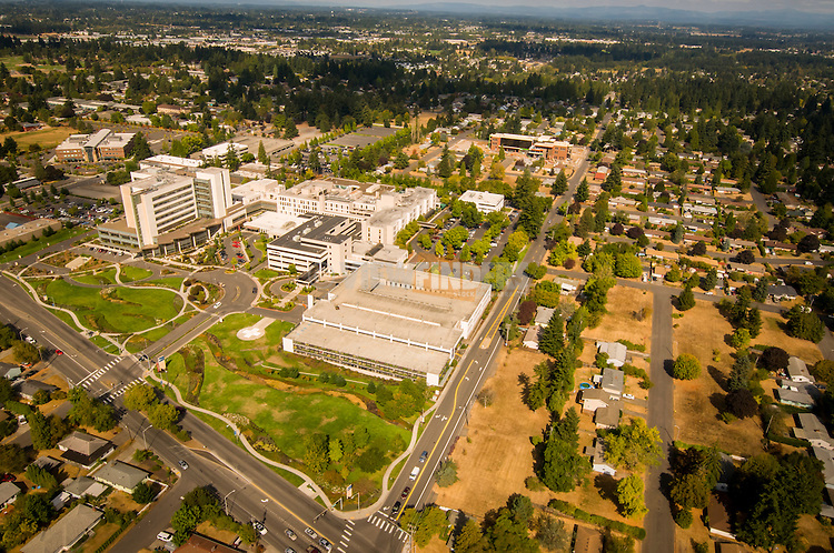 Aerial of Peacehealth in Vancouver, WA.