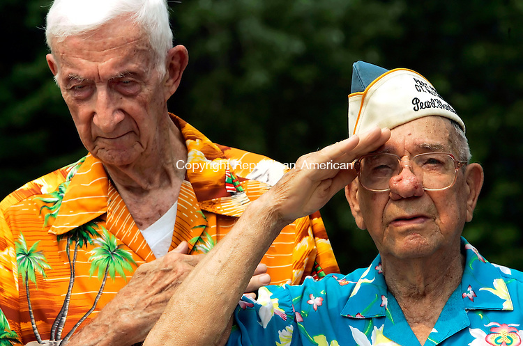 WATERBURY, CT - 14 AUGUST 2005 -081405JS02--Pearl Harbor survivors Arthur Schreier of Watertown, left, District 8 Commander for the Pearl Harbor Survivors Association and Harold Slader, president of the Nutmeg Chapter of the Pearl Harbor Survivors Association pay their respects as taps is played during Sunday's dedication of a plaque in memory of the 17 Connecticut men killed at Pearl Harbor. The plaque is on display at the Pearl Harbor bridge on Freight Street in Waterbury.    --Jim Shannon Photo--Arthur Schreier; Pearl Harbor Survivors Association, Harold Slader CQ