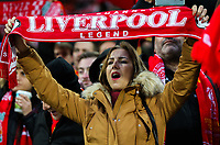 Liverpool fans sing in the Kop stand at Anfield<br /> <br /> Photographer Alex Dodd/CameraSport<br /> <br /> The Premier League - Liverpool v Manchester City - Sunday 14th January 2018 - Anfield - Liverpool<br /> <br /> World Copyright &copy; 2018 CameraSport. All rights reserved. 43 Linden Ave. Countesthorpe. Leicester. England. LE8 5PG - Tel: +44 (0) 116 277 4147 - admin@camerasport.com - www.camerasport.com