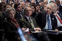 Bergamo: Mario Monti presenta la sua lista Scelta Civica con Monti al kilometro rosso di Bergamo..Nella foto Elsa Antonioli, Luca Cordero di Montezemolo e Mario Monti