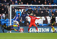 29th February 2020; Cardiff City Stadium, Cardiff, Glamorgan, Wales; English Championship Football, Cardiff City versus Brentford; Joe Ralls of Cardiff City wins the header to score the equalizer making it 2-2 in the 45+1 minute