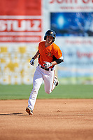 Frederick Keys center fielder Ryan McKenna (10) runs the bases during the first game of a doubleheader against the Lynchburg Hillcats on June 12, 2018 at Nymeo Field at Harry Grove Stadium in Frederick, Maryland.  Frederick defeated Lynchburg 2-1.  (Mike Janes/Four Seam Images)