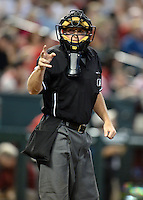 Umpire Tripp Gibson III during a game between the Arizona Diamondbacks and Washington Nationals at Chase Field on September 29, 2013 in Phoenix, Arizona.  Arizona defeated Washington 3-2.  (Mike Janes/Four Seam Images)