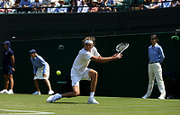 Alexander Zverev (GER) during his victory against Taylor Fritz (USA) in their Gentleman's Singles Second Round match<br /> <br /> Photographer Rob Newell/CameraSport<br /> <br /> Wimbledon Lawn Tennis Championships - Day 5 - Friday 6th July 2018 -  All England Lawn Tennis and Croquet Club - Wimbledon - London - England<br /> <br /> World Copyright &not;&uml;&not;&copy; 2017 CameraSport. All rights reserved. 43 Linden Ave. Countesthorpe. Leicester. England. LE8 5PG - Tel: +44 (0) 116 277 4147 - admin@camerasport.com - www.camerasport.com