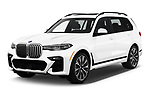 2019 BMW X7 40i 5 Door SUV angular front stock photos of front three quarter view