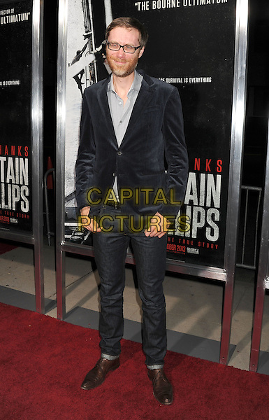 Stephen Merchant<br /> Premiere of &quot;Captain Phillips&quot; held at the Academy of Motion Picture Arts and Sciences, Beverly Hills, California, USA.<br /> September 30th, 2013<br /> full length blue suit jacket grey gray shirt glasses beard facial hair jeans denim<br /> CAP/ROT/TM<br /> &copy;Tony Michaels/Roth Stock/Capital Pictures