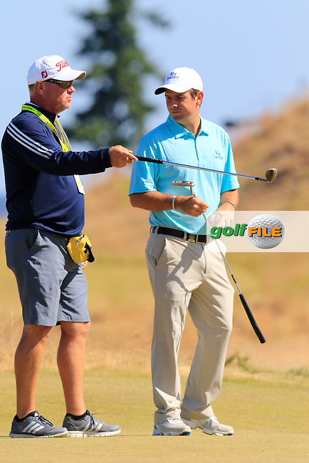 Thomas AIKEN (RSA) and caddy Danny Sharp on the 17th green during Wednesday's Practice Day of the 2015 U.S. Open 115th National Championship held at Chambers Bay, Seattle, Washington, USA. 6/17/2015.<br /> Picture &copy; Golffile/Eoin Clarke