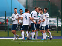 16th November 2019; Leckwith Stadium, Cardiff, Glamorgan, Wales; European Championship Under 19 2020 Qualifiers, Russia under 19s versus Wales under 19s; Russia Under 19 players celebrate after Kirill Kosarev of Russia Under 19 puts them 1-0 up in the first half - Editorial Use
