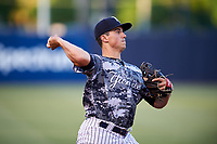 Tampa Yankees third baseman Mandy Alvarez (34) throws to first base during the second game of a doubleheader against the Bradenton Marauders on April 13, 2017 at George M. Steinbrenner Field in Tampa, Florida.  Tampa defeated Bradenton 2-1.  (Mike Janes/Four Seam Images)
