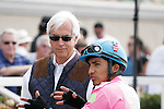 Rafael Bejarano and Bob Baffert after there win with Rolling Fog in a 2 year old maiden race at Del Mar Race Course in Del Mar, California on August 4, 2012.