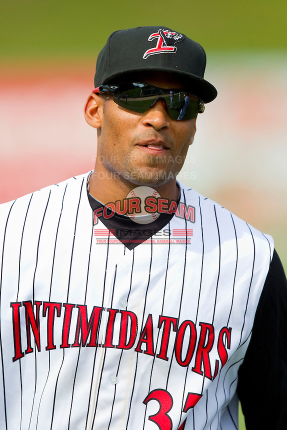 Micah Johnson (37) of the Kannapolis Intimidators prior to the game against the Greenville Drive at CMC-Northeast Stadium on June 30, 2013 in Kannapolis, North Carolina.  The Drive defeated the Intimidators 3-0.   (Brian Westerholt/Four Seam Images)