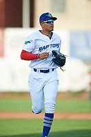 Romer Cuadrado (17) of the Ogden Raptors runs off the field during the game against the Great Falls Voyagers at Lindquist Field on August 16, 2017 in Ogden, Utah. The Voyagers defeated the Raptors 11-6. (Stephen Smith/Four Seam Images)