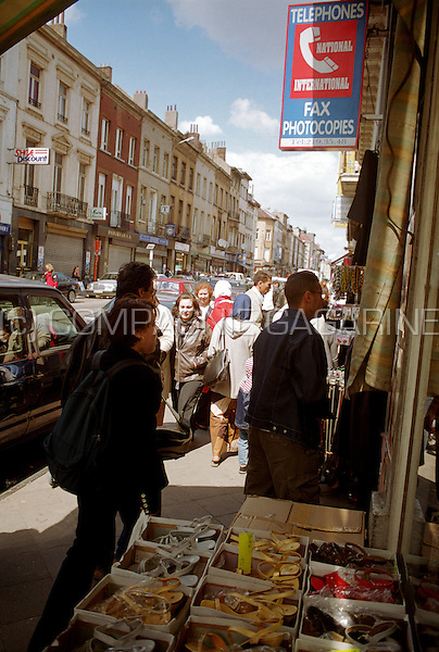 The Rue de Brabant in Schaerbeek (Brussels) with their typical immigrant, African and Arabic shops (Belgium, 22/05/2004)