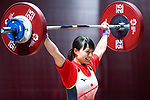 Kanae Yagi (JPN), <br /> AUGUST 21, 2018 - Weightlifting : <br /> Women's 53kg <br /> at JIExpo Kemayoran Hall A <br /> during the 2018 Jakarta Palembang Asian Games <br /> in Jakarta, Indonesia. <br /> (Photo by Naoki Nishimura/AFLO SPORT)
