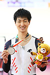Ryo Chikatani (JPN), <br /> AUGUST 29, 2018 - Cycling - Track : <br /> Men's 4000m Individual Pursuit Medal ceremony <br /> at Jakarta International Velodrome <br /> during the 2018 Jakarta Palembang Asian Games <br /> in Jakarta, Indonesia. <br /> (Photo by Naoki Nishimura/AFLO SPORT)