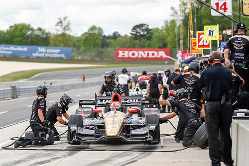 22-24 April, 2016, Birmingham, Alabama USA <br /> 5 James Hinchcliffe pit stop<br /> ©2016, Sam Cobb<br /> LAT Photo USA