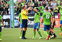 Seattle, Washington - July 3, 2015: Seattle Sounders FC defeat D.C. United United 1-0 in MLS action on the Xbox Pitch at CenturyLink Field.