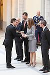 Santiago Auseron, Prince Felipe of Spain and Princess Letizia of Spain attend the National Awards of Culture 2011 and 2012 at Palacio de El Pardo. February 19, 2013. (ALTERPHOTOS/Caro Marin)