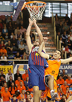 Mad-Croc Fuenlabrada's Quino Colom (r) and FC Barcelona Regal's Ante Tomic during Liga Endesa ACB match.November 18,2012. (ALTERPHOTOS/Acero) NortePhoto