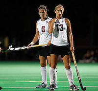 STANFORD CA - September 23, 2011: Becky Dru and Kelsey Harbin during the Stanford vs Cal at vs Lehigh field hockey game at the Varsity Field Hockey Turf Friday night at Stanford.<br /> <br /> The Cardinal team defeated the Golden Bears 3-2.