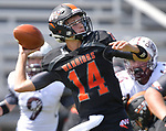Wesclin quarterback Devon Kahrhoff passes under pressure. Wesclin defeated Dupo 34-30 on Saturday August 31, 2019 in a game that was stopped Friday night at halftime due to storms. <br /> Tim Vizer/Special to STLhighschoolsports.com