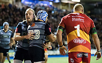 Cardiff Blues' Kristian Dacey congratulates team mate Matthew Morgan on scoring his sides second try<br /> <br /> Photographer Simon King/CameraSport<br /> <br /> Guinness Pro14 Round 6 - Cardiff Blues v Dragons - Friday 6th October 2017 - Cardiff Arms Park - Cardiff<br /> <br /> World Copyright &copy; 2017 CameraSport. All rights reserved. 43 Linden Ave. Countesthorpe. Leicester. England. LE8 5PG - Tel: +44 (0) 116 277 4147 - admin@camerasport.com - www.camerasport.co