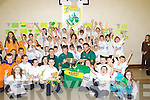 Kerry Hurlers John Griffin, Shane Nolan, Gary O'Brien launches the new Kerry GAA Crest with children from Gealscoil Mhic Easmainn on Thursday.