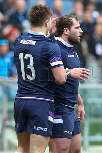 17th March 2018, Stadio Olimpico, Rome, Italy; NatWest Six Nations rugby, Italy versus Scotland; Fraser Brown (R) of Scotland celebrates with Huw Jones after scoring a try