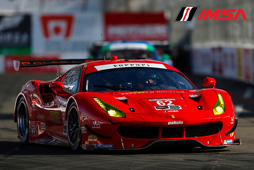 2017 IMSA WeatherTech SportsCar Championship<br /> BUBBA burger Sports Car Grand Prix at Long Beach<br /> Streets of Long Beach, CA USA<br /> Friday 7 April 2017<br /> 62, Ferrari, Ferrari 488 GTE, GTLM, Toni Vilander, Giancarlo Fisichella<br /> World Copyright: Jake Galstad/LAT Images