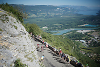 Up the spectacular Lacets du Grand Colombier (Cat1/891m/8.4km/7.6%)<br /> <br /> stage 15: Bourg-en-Bresse to Culoz (160km)<br /> 103rd Tour de France 2016