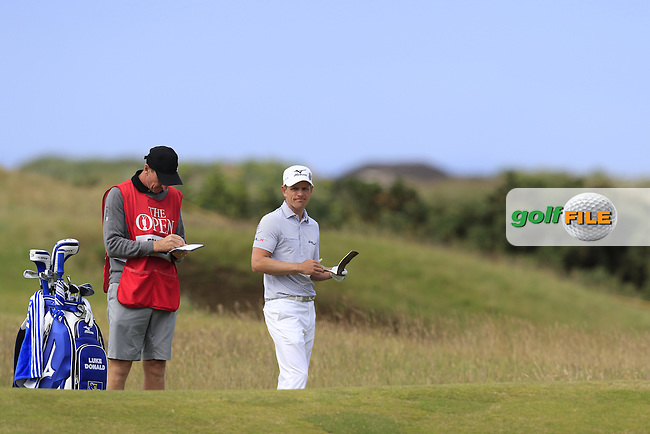 Luke Donald (ENG) and caddy John Mclaren on the 14th hole during Sunday's Round 3 of the 144th Open Championship, St Andrews Old Course, St Andrews, Fife, Scotland. 19/07/2015.<br /> Picture Eoin Clarke, www.golffile.ie